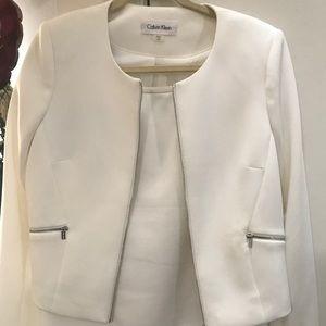 New Calvin Klein 2PC Cream Suit